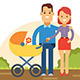 Happy Young Family with Baby in Stroller - GraphicRiver Item for Sale