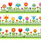 Floral Borders with Abstract Flowers - GraphicRiver Item for Sale