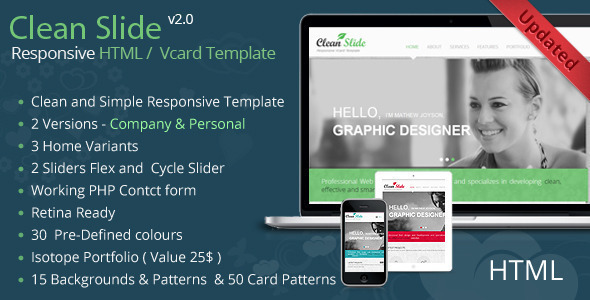 Clean Slide Responsive HTML Template / Vcard - Virtual Business Card Personal