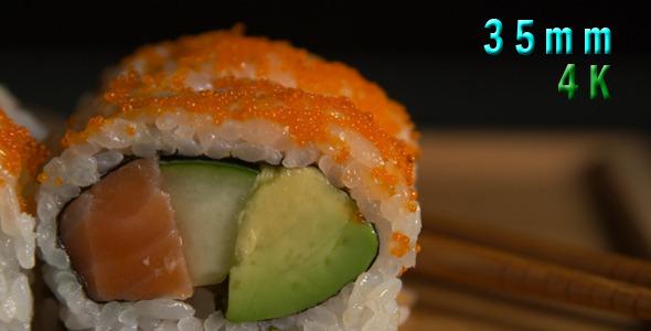 Sushi Rolls With Orange Caviar 02