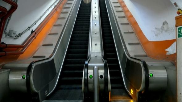 Empty Underground Escalator Moving Up