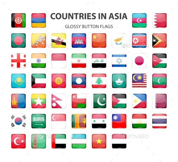Glossy Button Flags - Asia. Original Colors.