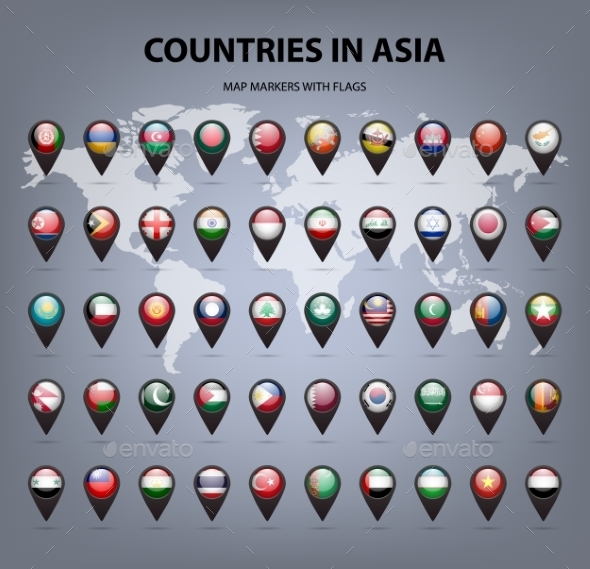 Map Markers With Flags - Asia. Original Colors.