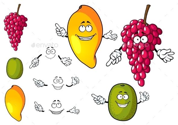 Cartoon Mango, Grape And Kiwi Fruits