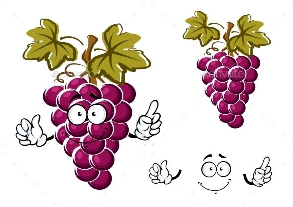 Cartoon Purple Grape Fruit Character