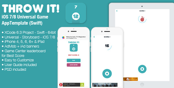 Throw It! – Full iOS 7/8 Game Template (Swift) (Games) Download