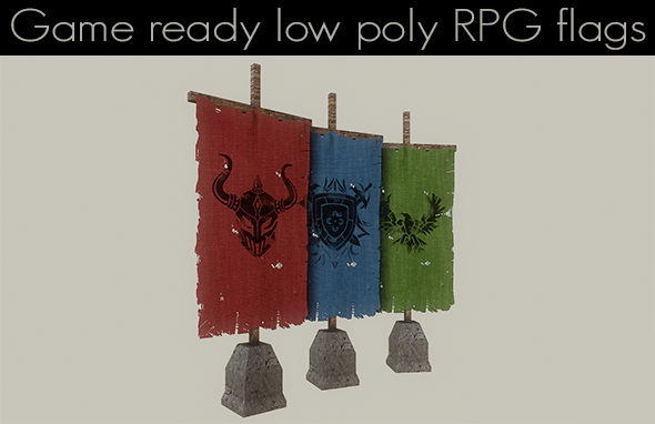 3DOcean Low Poly RPG Flags 11996347