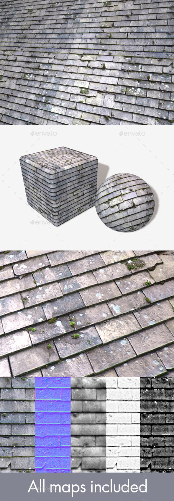 Mossy Slate Roof Tiles Seamless Texture - 3DOcean Item for Sale