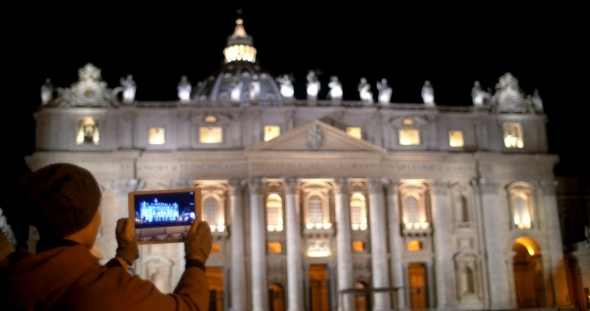 Taking Pictures Of Night St Peters Basilica