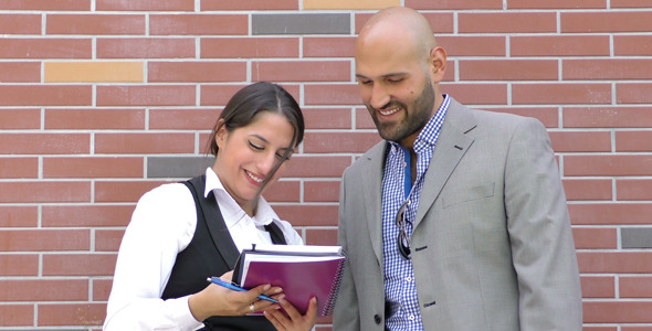 Business Man and Woman Teamwork Talking Concept 1