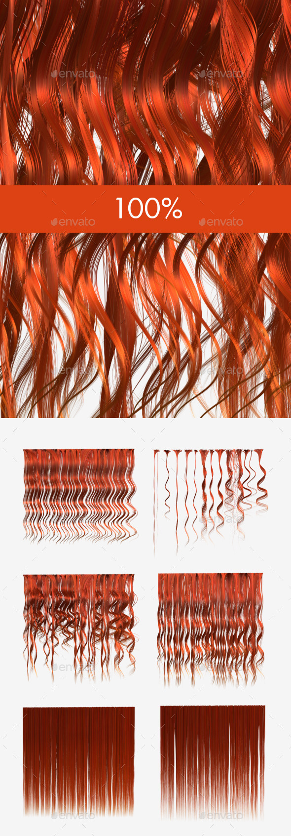 3DOcean 6 Ginger Hair Textures 12001223