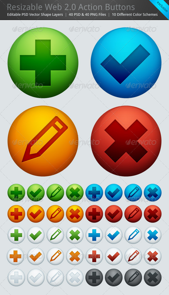 Resizable Web 2.0 Action Buttons Set of 40
