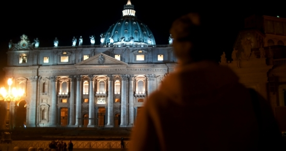 Night View Of St Peters Basilica In Vatican City