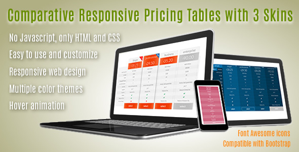 CodeCanyon Comparative Responsive Pricing Tables with 3 Skins 11921961