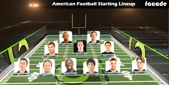 American football starting lineup after effects template for Soccer starting lineup template