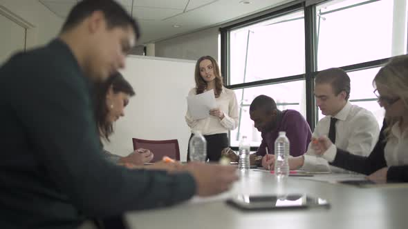 A Caucasian Woman Leading A Meeting 3 Of 6