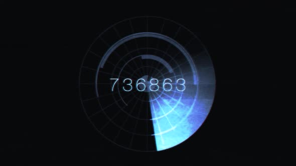 Blue Radar Scan With Numbers 2