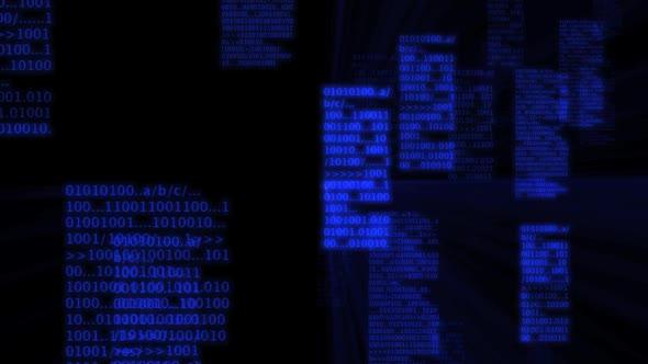 Bright Blue Binary Code Zoom