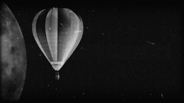 Black & White Hot Air Balloon With Moon 1
