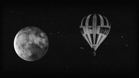Black & White Hot Air Balloon With Moon 2