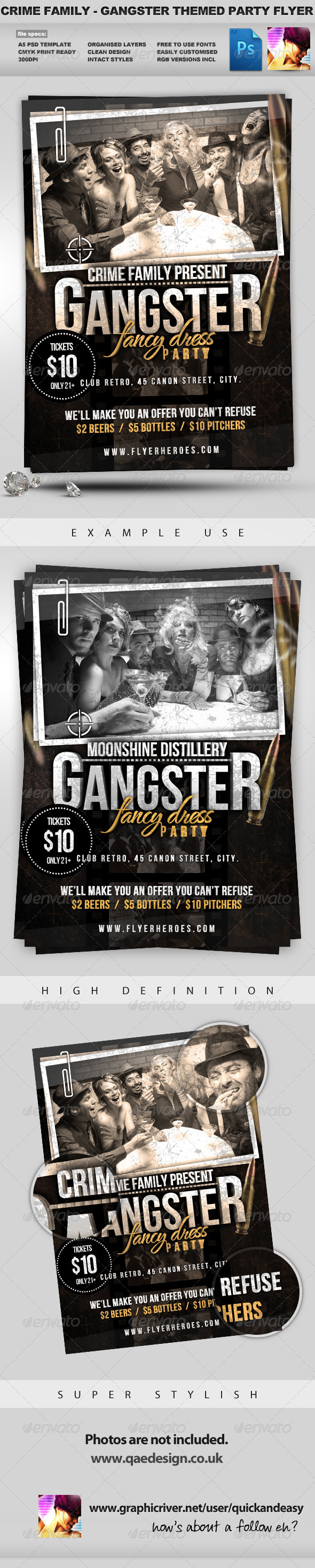 GraphicRiver Crime Family Gangster Themed Flyer Template 1203555