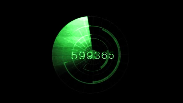 Green Radar Scan With Numbers