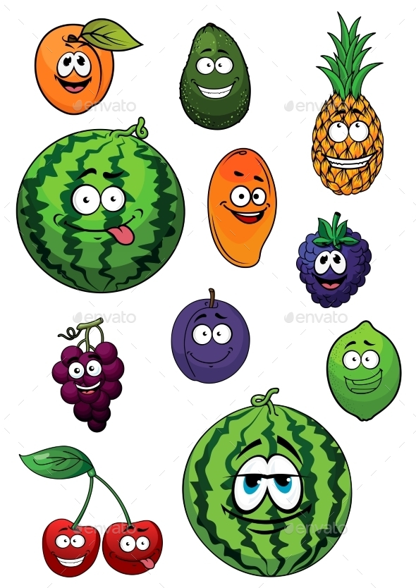 Fresh Happy Cartoon Fruits Characters