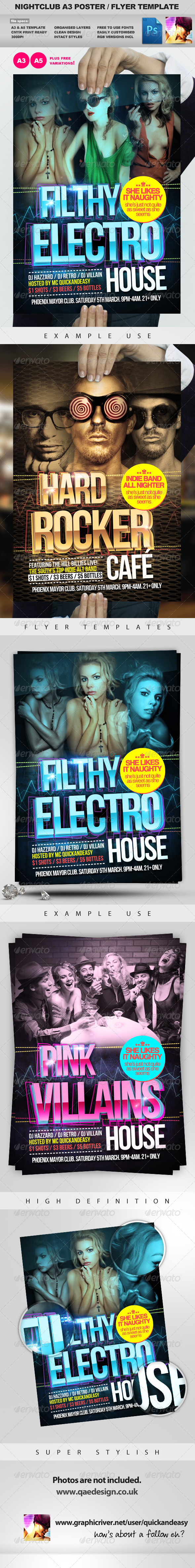 Filthy Electro House Club Party Flyer Templat - Clubs & Parties Events