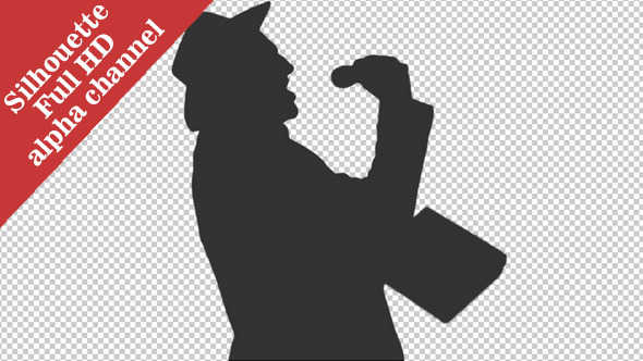 Silhouette of a Man in a Cowboy Hat 1