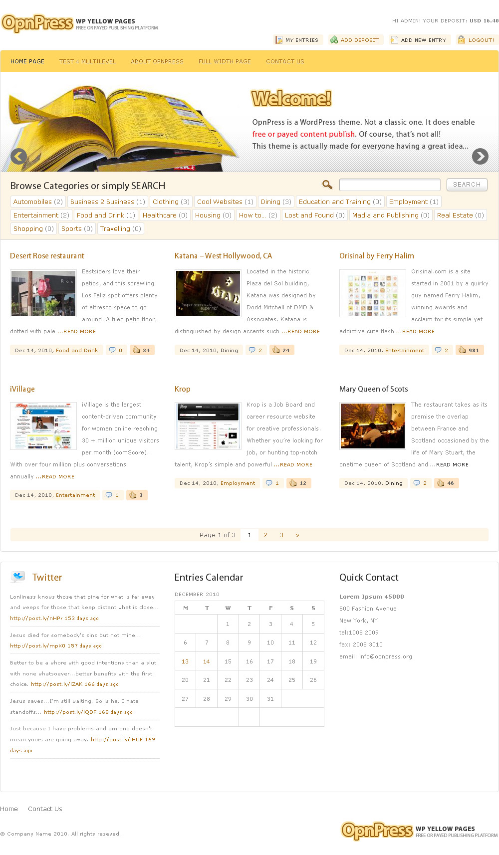 Sofa OpnPress - Publishing Platform - Home page layout.