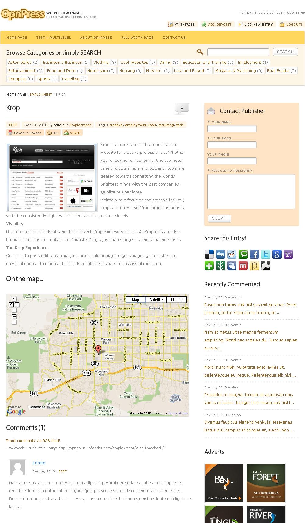 Sofa OpnPress - Publishing Platform - Entry details view.