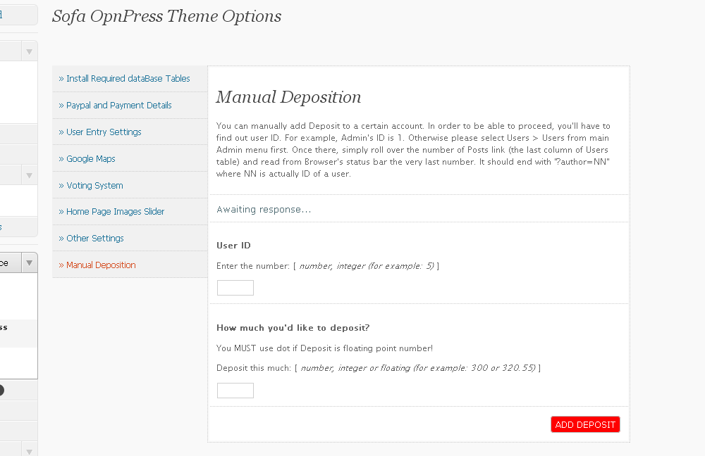 Sofa OpnPress - Publishing Platform - Theme Options page, manual deposition.