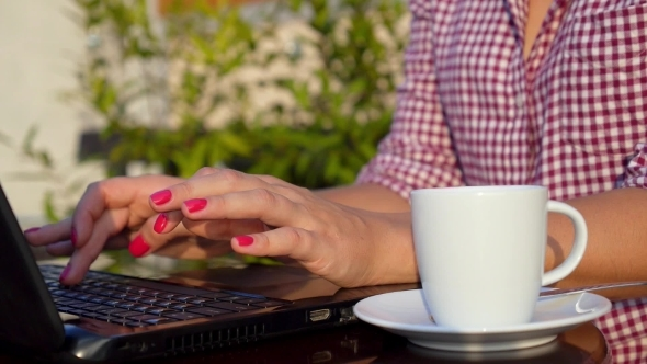 Woman Hands Typing In Laptop Outdoors