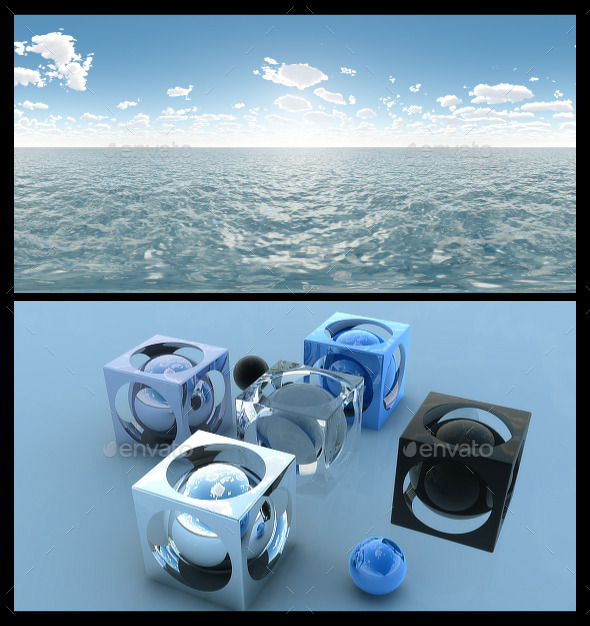 3DOcean Ocean Blue Clouds 3 HDRI 12014679