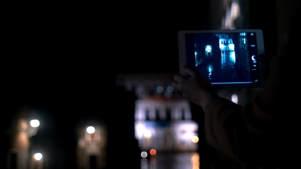 Taking Picture Of Venetian Canal At Night