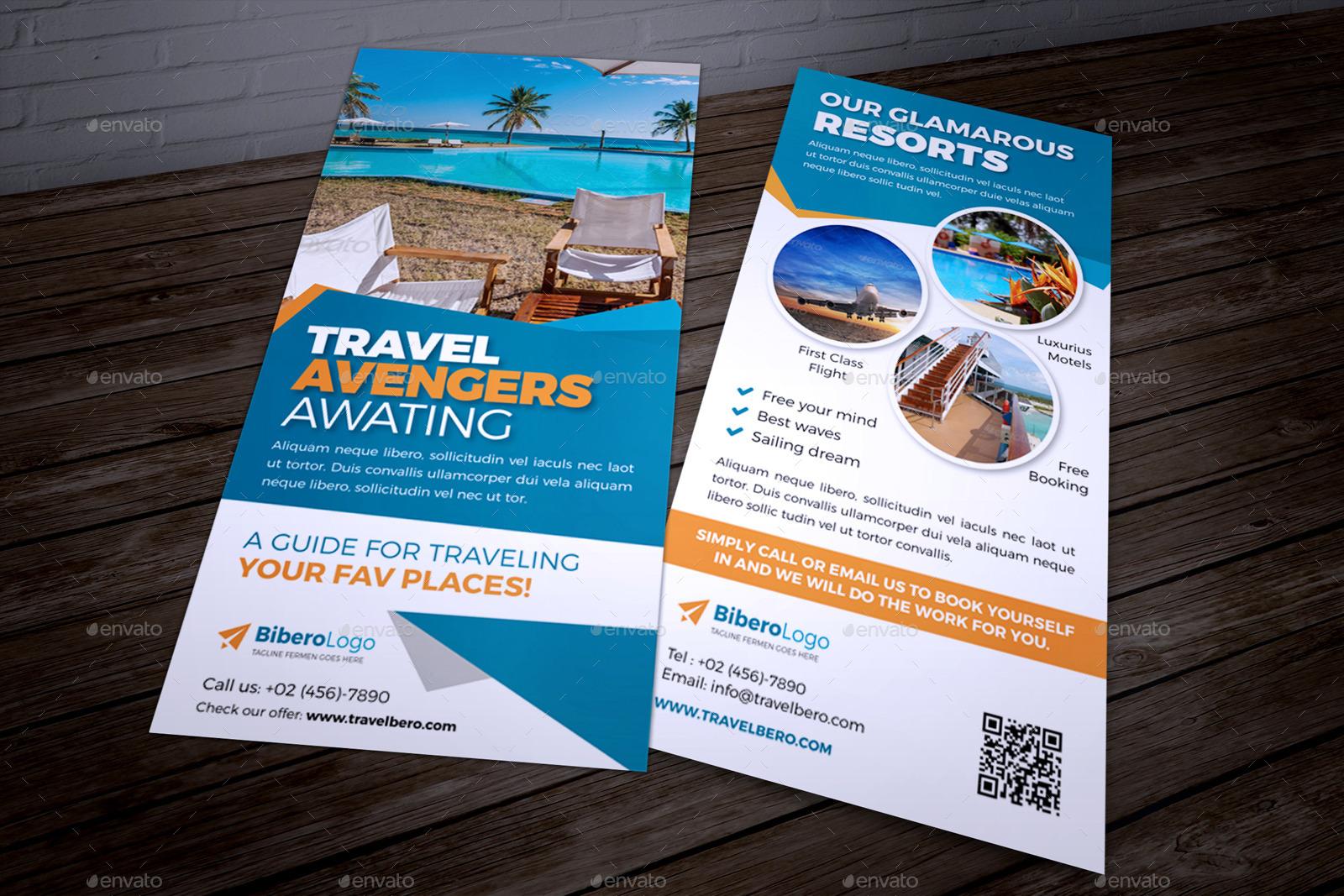 travel agency dl flyer postcard indesign by jbn comilla graphicriver. Black Bedroom Furniture Sets. Home Design Ideas
