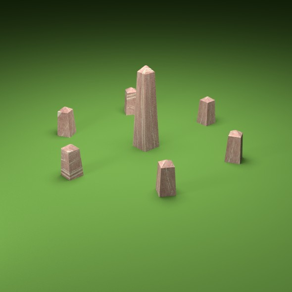 Obelisk and Stone Circle - 3DOcean Item for Sale