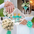 Wedding collage in mint and blue colors