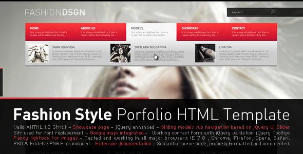 ThemeForest Fashion Style Porfolio HTML Template 140430
