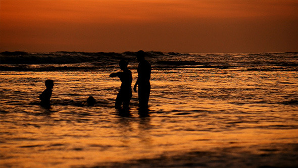 VideoHive Family on Beach after Sunset 12020897