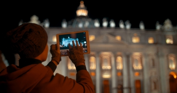 VideoHive Making Touch Pad Photos Of Night St Peters 12021439