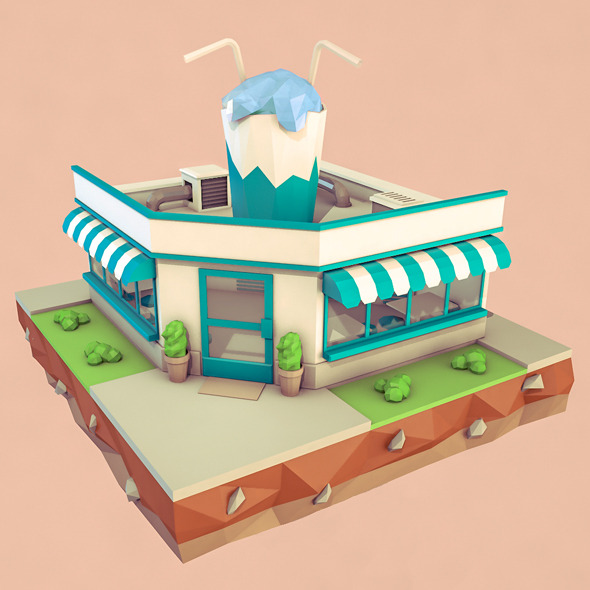 3DOcean Low Poly Cocktail Cafe 12024681