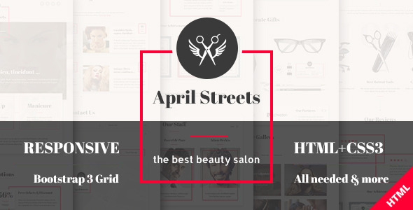 April Streets – Beauty Salon HTML Template (Health & Beauty) Download