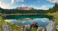 Panorama of Alps lake landscape with forrest mountain, Lago di C