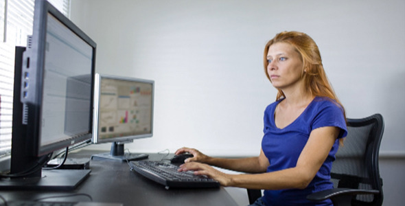 Woman Working at a Computer 30