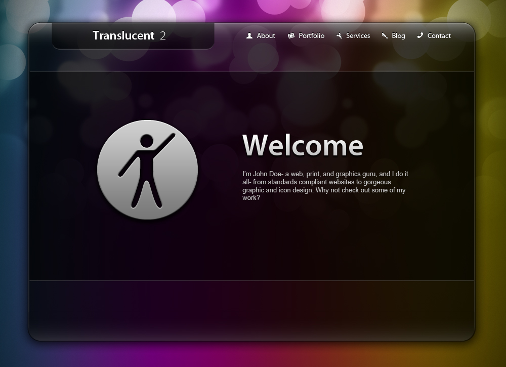Translucent 2 - The Home page is simple and uncluttered, and offers at-a-glance info about yourself/your site
