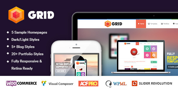 Grid – WordPress Responsive Agency Portfolio Theme (Portfolio) Download