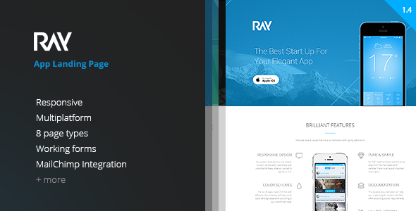 Download Ray - App Landing Page nulled download