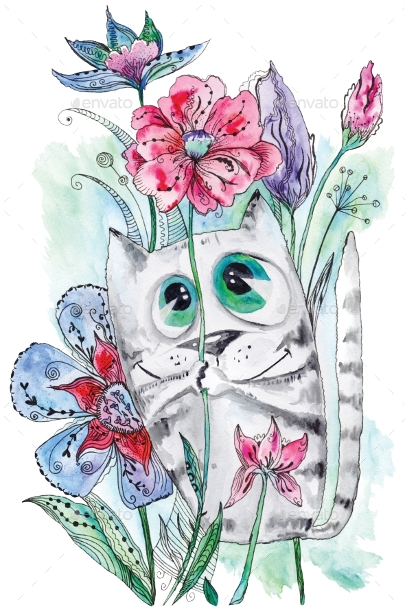 Funny Watercolor Cat With Flowers