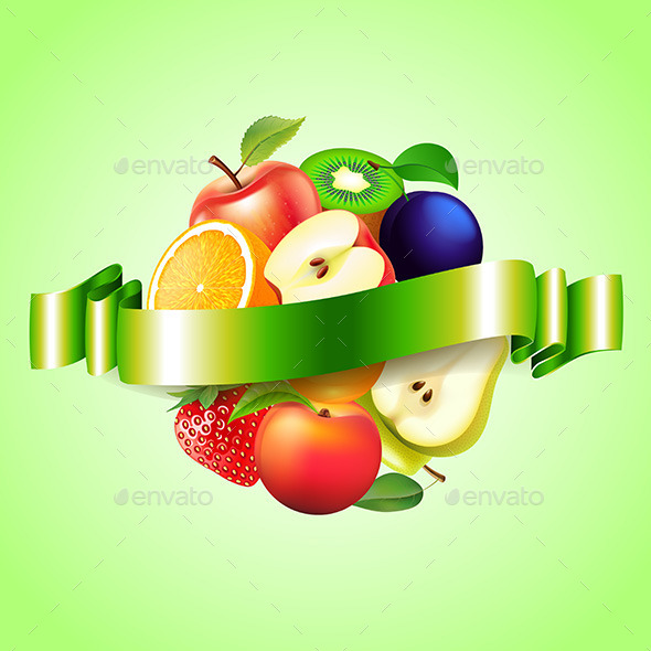 Fruits Sphere with Label Background